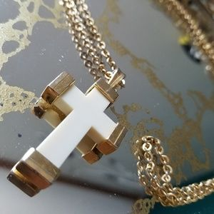 Jewelry - Cross Ivory & gold colors 3D cross 1.5""